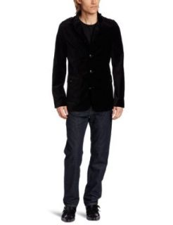 Kenneth Cole Mens Velvet Military Blazer Clothing