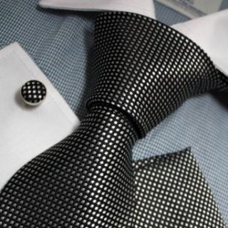 Black Checkered Woven Silk Tie Handkerchiefs Cufflinks