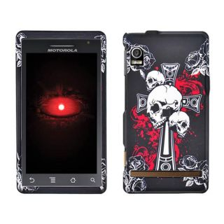 Motorola Droid A855 Black Cross Skull Design Case