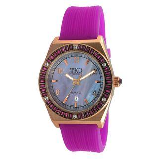 TKO Orlogi Womens Royale Crystal Purple Rubber Strap Watch