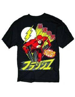 DC COMICS FLASH JAPANESE LOGO ADULT BLACK MENS S/S TEE