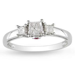 Miadora 14k White Gold 1/2ct TDW Diamond and Pink Sapphire Ring (G H