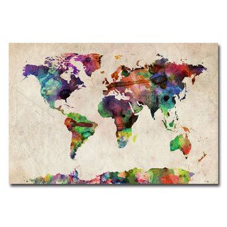 Michael Tompsett Urban Watercolor World Map Canvas Art