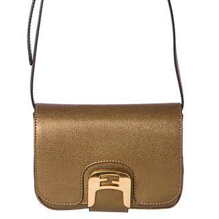 Fendi Small Bronze Leather Cross body Bag