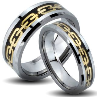 Tungsten Carbide Tri color Goldplated Chain Link His and Her Wedding