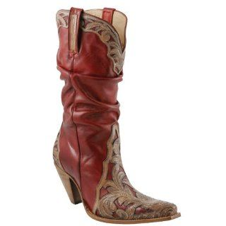 Western Cowboy Boots Shoes Leather Fashion Triad Red/Pearl Shoes