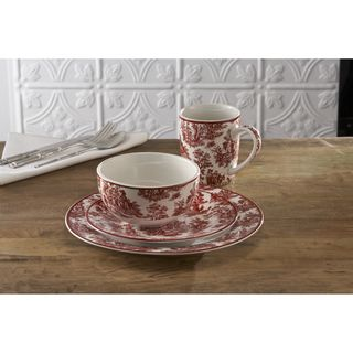 Waverly Country Life Red 16 piece Dinnerware Set