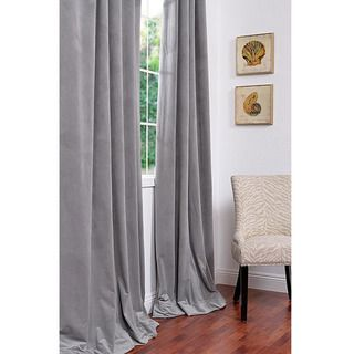 Signature Silver Grey Velvet 84 inch Blackout Curtain Panel