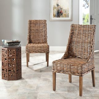 St Thomas Indoor Wicker Brown Sloping Arm Chairs (Set of 2