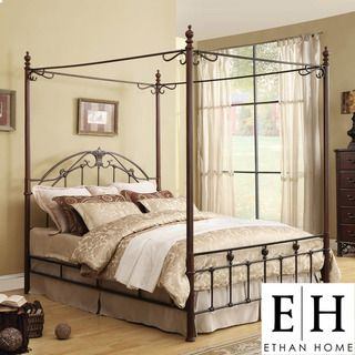 ETHAN HOME Newcastle Graceful Scroll Bronze Iron Queen size Canopy Bed