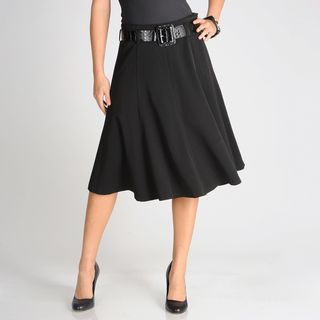 Grace Elements Womens Black Gored Flared Skirt with Patent Belt