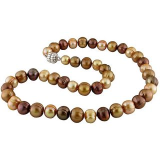 Multi color Pearls Brown FW Pearl Necklace (9.5 10 mm)