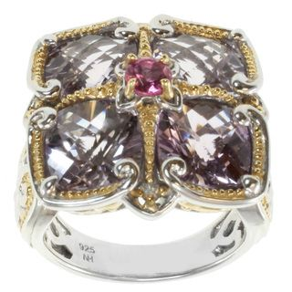 Michael Valitutti Two tone Pink Tourmaline and Amethyst Ring