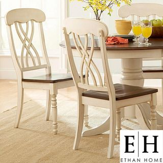 ETHAN HOME Mackenzie Country Antique White Side Chair (Set of 2