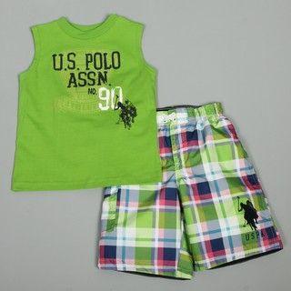 US Polo Toddler Boys T shirt Plaid Shorts Set