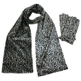 Silver Gray Leopard Print Velvet Scarf & Glove Set