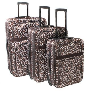 Safari Classic Giraffe Expandable Rolling Upright 3 piece Luggage Set