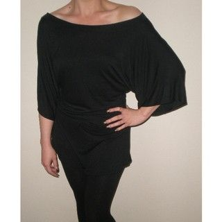 Arty Womens Black Gathered Wide sleeve Top
