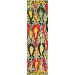 Handmade Ikat Blue/ Green Wool Rug (23 x 8)