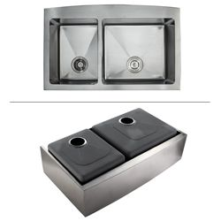 Kraus 36 inch Farmhouse Apron Double bowl Stainless Steel Kitchen Sink