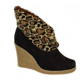 Muk Luks Womens Leopard Knit Leather Wedge Boots