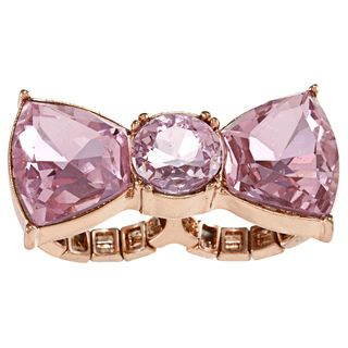 Betsey Johnson Cubic Zirconia Pink Bow 2 finger Ring