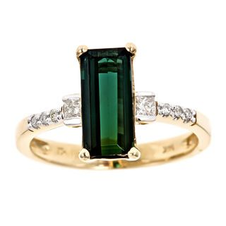 Yach 14k Gold Green Tourmaline and 1/6ct TDW Diamonds Ring (G H, I1