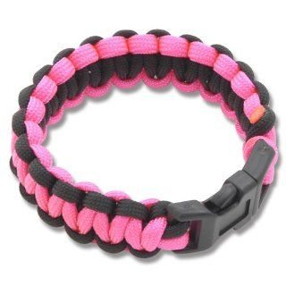 Medium Paracord Survival Bracelet   Pink/Black Sports