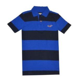 Hollister Men Wide Stripes Logo Polo T shirt (S, Blue/navy