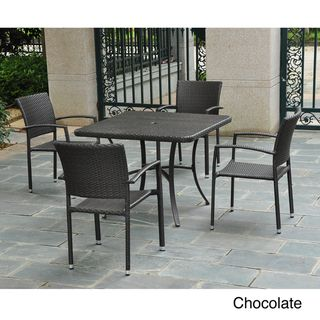 Barcelona 39 inch Square Table with 4 Arm Chairs