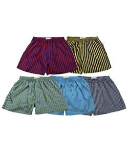 Satin Boxer Shorts in Striped Prints (Pack of 5)