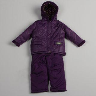 Pink Platinum Girls Purple Puffer Snowsuit