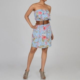 Elan Womens Floral Belted Ruffle Bodice Strapless Dress