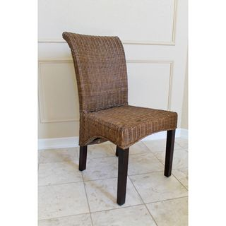 Campbell Woven Wicker High Back Chairs (Set of 2)
