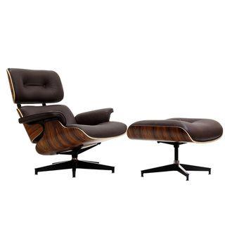 Eaze Brown Leather/ Palisander Wood Lounge Chair