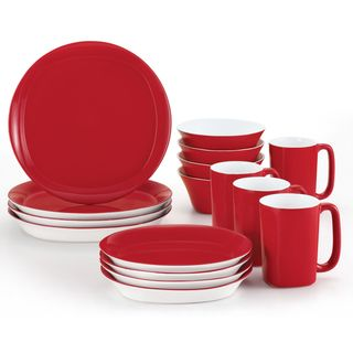 Rachael Ray Round & Square Red 16 Piece Place Setting