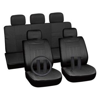 Solid Black 16 piece Car Seat Cover Set