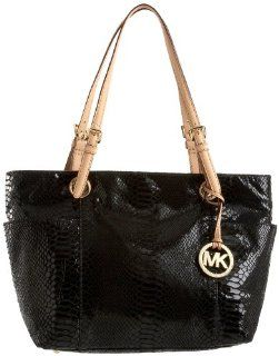 Michael Kors Items Top Zip Tote Patent Python,Black,one size Shoes