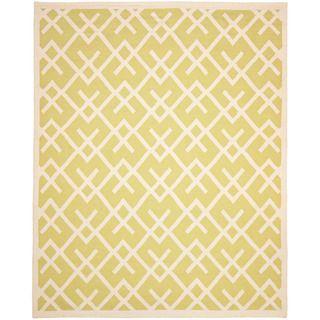 Handmade Light Green/ Chocolate Dhurrie Wool Rug (3 x 5)