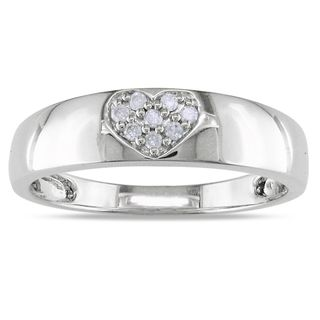 Miadora 14k White Gold Diamond Heart Ring (H I, I2 I3)