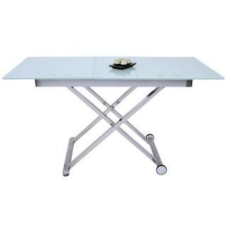 Table Basse Relevable Moderne En Verre Opaque Avec Allonge Saturne 34