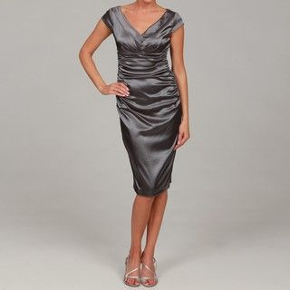 London Times Womens Solid Satin Stretch Sheath Dress