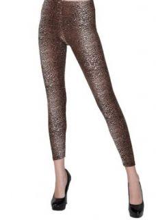 Feathery Leopard Animal Print Leggings in Brown Medium