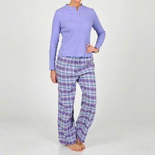 La Cera Womens Lavender Henley Two piece Pajama Set