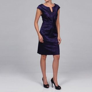Connected Apparel Womens Purple Ruche Dress