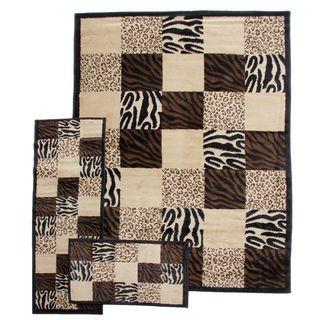 Zebra Leopard Animal Prints Patchwork Black 3 piece Rug Set