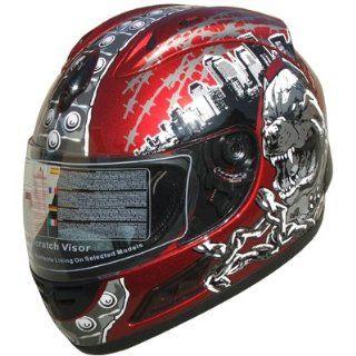 Full Face Street Bike Helmet Wine Red DOT F34 Size XL