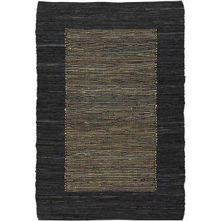 woven Flat weave Mandara Black Leather Rug (9 x 13)