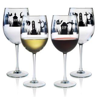 Halloween RIP 19 oz. Wine Glasses in Black, Set of 4