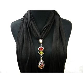 Black Fashion Jewelry Scarf Cut Filigree Drop Pendant